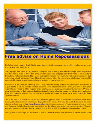 Free advise on Home Repossessions