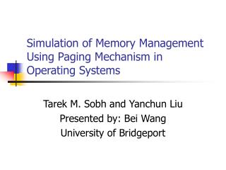 Simulation of Memory Management Using Paging Mechanism in Operating Systems