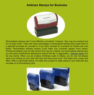 Address Stamps for Business