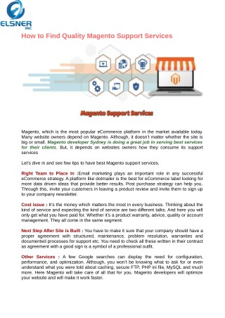 Find a Magento Support and Maintenance Services In Sydney
