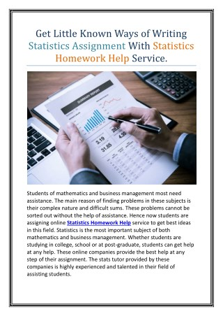 Get Little Known Ways of Writing Statistics Assignment With Statistics Homework Help Service.