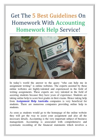 Get The 5 Best Guidelines On Homework With Accounting Homework Help Service!