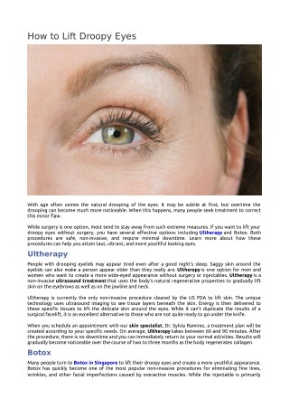 How to Lift Droopy Eyes