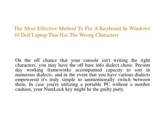 The Most Effective Method To Fix A Keyboard In Windows 10 Dell Laptop That Has The Wrong Characters