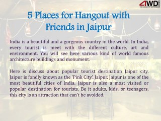 5 Places for Hangout with Friends in Jaipur