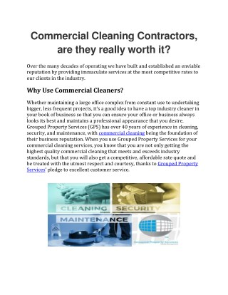 Commercial Cleaning Contractors, are they really worth it?
