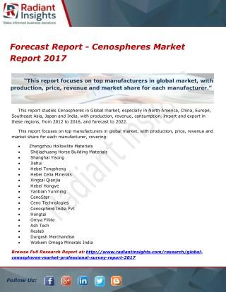 Forecast Report - Cenospheres Market Report 2017