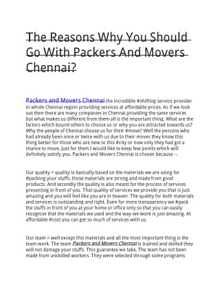 The Reasons Why You Should Go With Packers And Movers Chennai?