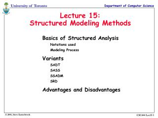 Lecture 15: Structured Modeling Methods
