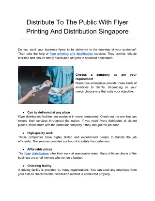 Distribute to the public with flyer printing and distribution singapore