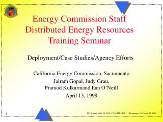 Energy Commission Staff Distributed Energy Resources Training Seminar