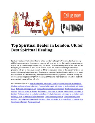 Top Spiritual Healer in London, UK for Best Spiritual Healing