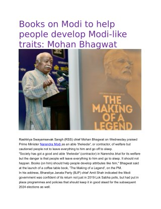 Books on Modi to help people develop Modi-like traits: Mohan Bhagwat