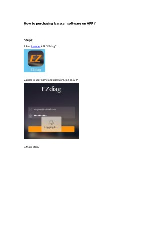 How to purchasing launch Icarscan software on APP