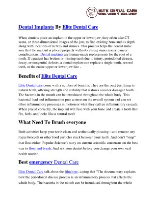 Best Dental implants by Elite dental care | Best emergency dental care