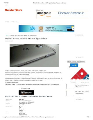 One Plus 5 Features, Specification and Price