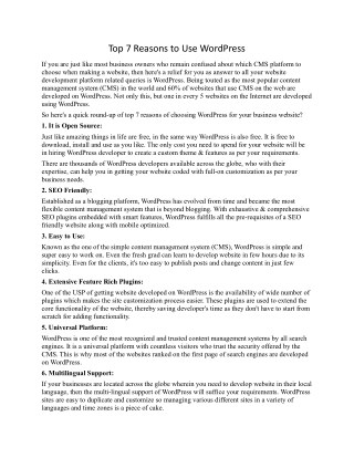 Top 7 reasons to use Wordpress - SpicyWeb Jalandhar