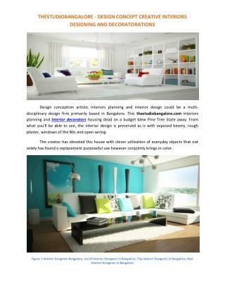 Interior Designers and Decorators - thestudiobangalore