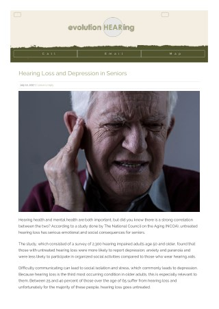 Hearing Loss and Depression in Seniors