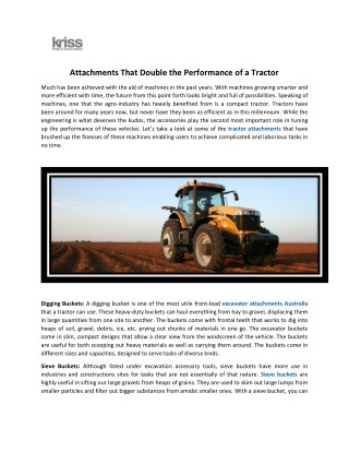 Buy Tractor Attachments to Double the Performance of a Tractor.