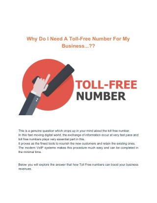 Why Do I Need Toll-Free Number For My Business