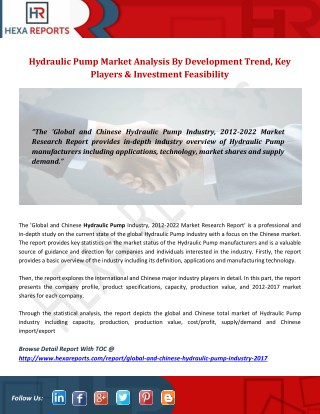 Hydraulic Pump Market Analysis By Development Trend, Key Players & Investment Feasibility