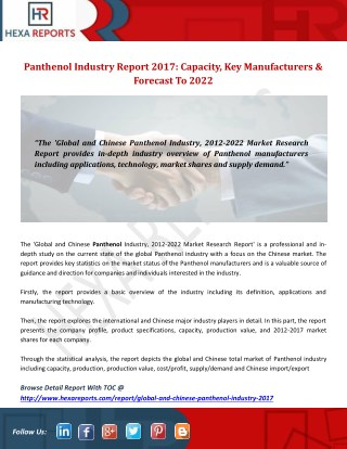 Panthenol Industry Report 2017: Capacity, Key Manufacturers & Forecast To 2022