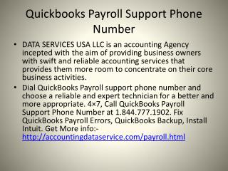 Quickbook payroll support phone number