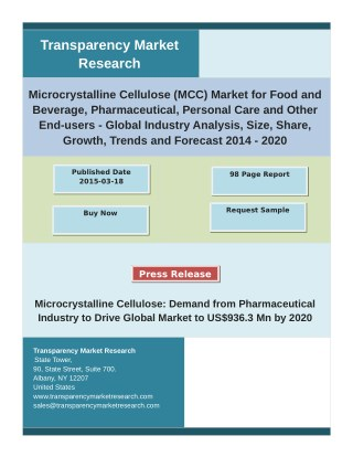 Microcrystalline Cellulose (MCC) Market Future Demand, Growth, Share and  Analysis with forecast 2020