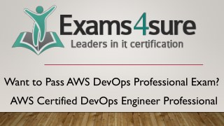 AWS DevOps Professionals Exam Dumps with 100% passing guarantee