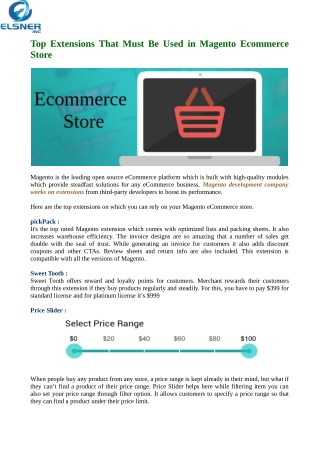 Use Top Five Extensions Must Be Used in Magento Ecommerce Store