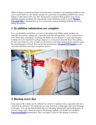 How to protect your property from serious summer plumbing problems