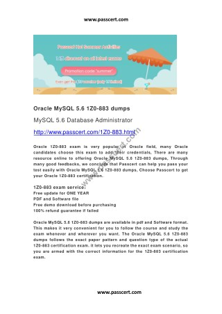 Oracle MySQL 5.6 1Z0-883 dumps