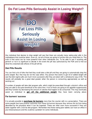 Do Fat Loss Pills Seriously Assist in Losing Weight?