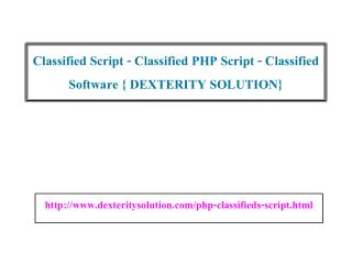 Classified Script - Classified PHP Script - Classified Software