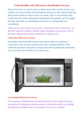 Cook Healthy with Microwave Installation Services