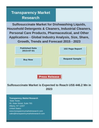 Sulfosuccinate Market Key Growth Factors and Industry Analysis 2015-2023