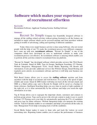 Software which makes your experience of recruitment effortless