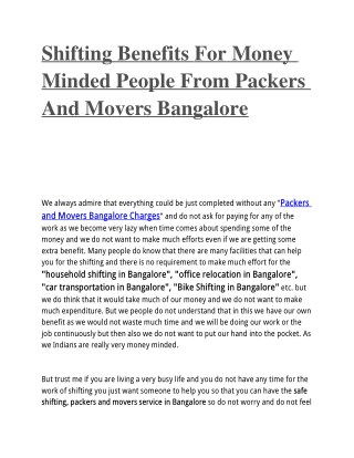 Shifting Benefits For Money Minded People From Packers And Movers Bangalore