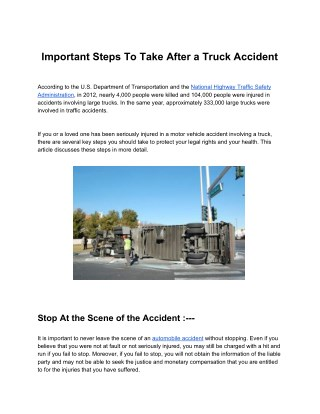 Important Steps To Take After a Truck Accident