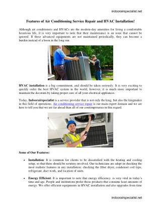 Features of Air Conditioning Service Repair and HVAC Installation!