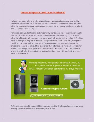 Samsung Refrigerator Repair Center in Hyderabad