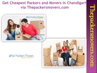 Get Cheapest Packers and Movers in Chandigarh via Thepackersmovers.com