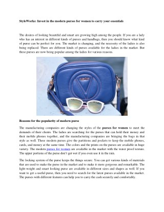 StyleWorks: Invest in the modern purses for women to carry your essentials