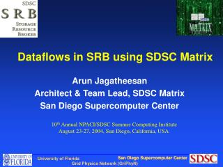 Dataflows in SRB using SDSC Matrix