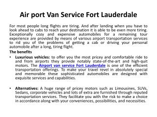 Airport van service Fort Lauderdale