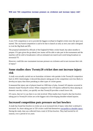 Will new T20 competition increase pressure on cricketers and increase injury risk?