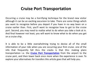 Cruise Port Transportation