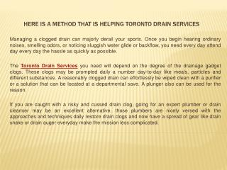 Here Is a Method That Is Helping Toronto Drain Services
