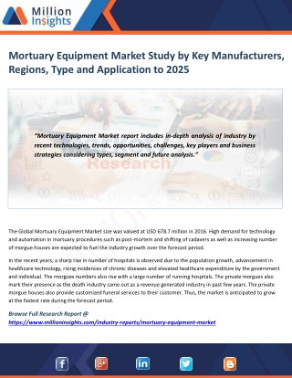 Mortuary Equipment Market Technological Advancements & Competitive Insights to 2025